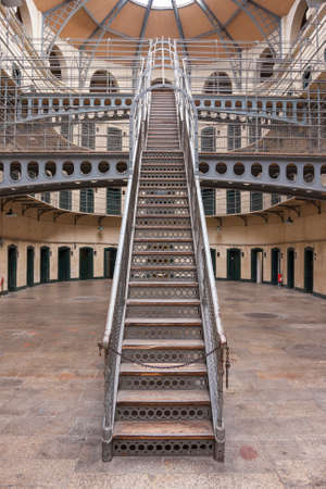 gaol: Dublin, Ireland - Aug 14:Interior of Kilmainham Gaol in Dublin, Ireland on August 14, 2014