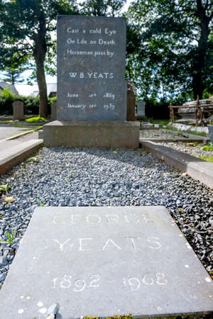 William Butler and George Yeats tomb in Drumcliff, Co. Slico, Ireland Editorial
