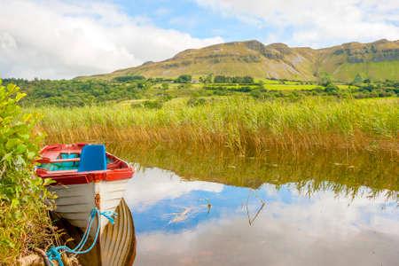 Boat in The Glencar lake in Ireland