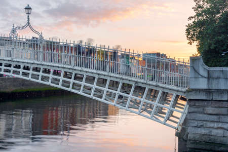liffey: Hapenny Bridge over the Liffey River in Dublin, Ireland