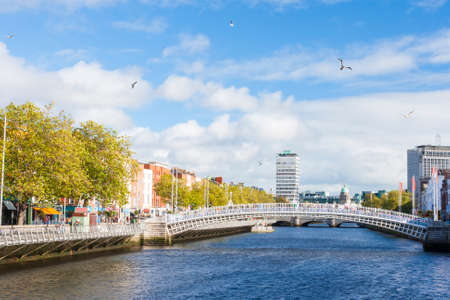 liffey: View of Hapenny Bridge over Liffey river in Dublin, Ireland