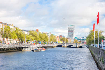 liffey: View of Liffey river with O connell bridge at background Stock Photo