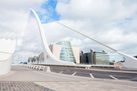 Samuel Beckett Bridge perspective in Dublin, Ireland