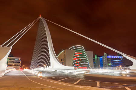 samuel: Samuel Beckett bridge at night in Dublin, Ireland