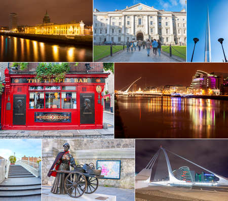 malone: Dublin, Ireland - Oct 25, 2014: Collage of different landmarks in Dublin, Ireland on October 25, 2014