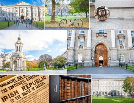 Dublin, Ireland - Oct 25, 2014: Collage of Trinity College in Dublin, Ireland on October 25, 2014