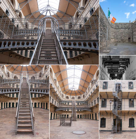 gaol: Dublin, Ireland - Aug 13: Collage of Interior of Kilmainham Gaol in Dublin, Ireland on August 13, 2014 Editorial