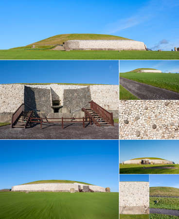 county meath: Drogeda, Ireland - Jan 04, 2014: Collage of Newgrange. This building is UNESCO World heritage site. Newgrange is over 5000 years old and its the most famous of Irish prehistoric sites, in Drogeda, Co. Meath, Ireland on January 04, 2014 Editorial