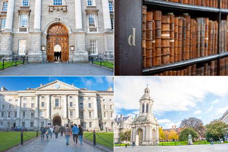 Dublin, Ireland - Jan 03, 2014: Collage of Trinity college different photos in Dublin, Ireland on January 03, 2014