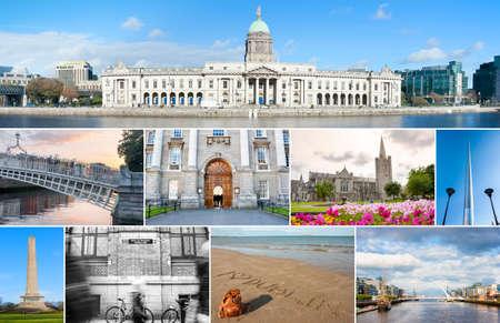 Collage van verschillende bezienswaardigheden in Dublin, Ierland