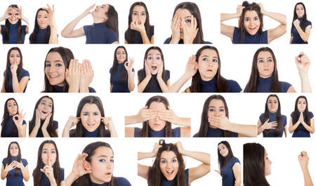 voiceless: Woman doing different gestures collage isolated on white background