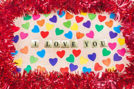 I love you message with sticks hearts photo