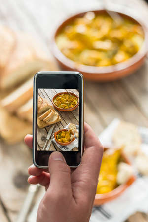 shot: Taking a picture of food with mobile phone