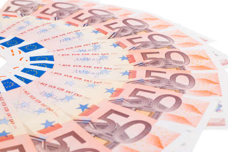 fifty euro banknote: Fifty euro banknote fan isolated on white background Stock Photo