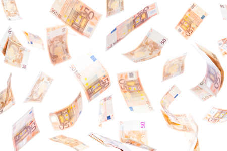 Fifty euro notes flying on the air isolated on white background
