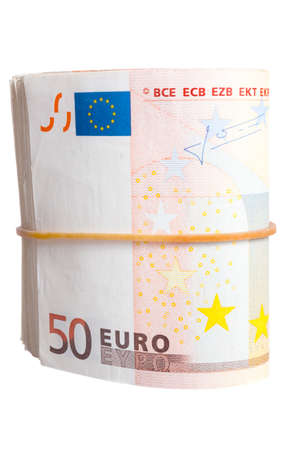 billets euros: Fifty euro notes bend isolated on white background Banque d'images