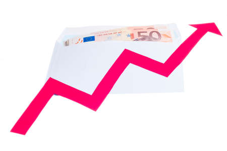 Concept of increase of euro value with red arrow growing over notes in a envelope isolated on white background photo