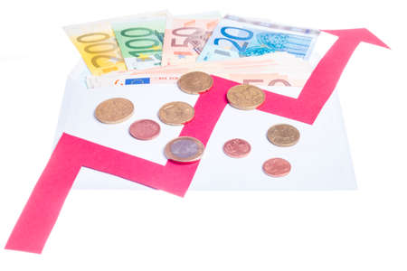 gamut: Concept of increase of euro value with red arrow growing over notes in a envelope isolated on white background