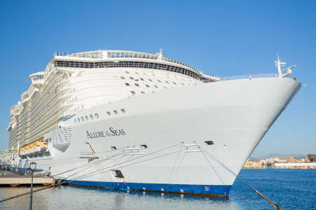 Malaga, Spain - April, 29: Allure of the Seas at the malaga harbor as first stop in europe in Malaga, Spain on April 29, 2015. The largest cruise ship in the world