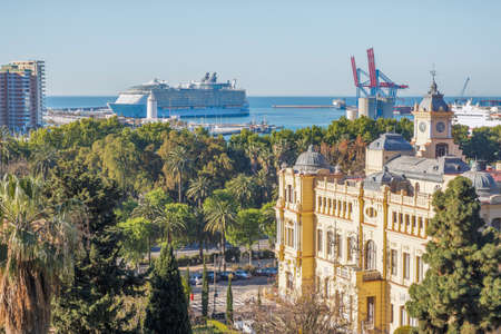 pleasure ship: Malaga, Spain - April, 29: Allure of the Seas at the malaga harbor as first stop in europe in Malaga, Spain on April 29, 2015. The largest cruise ship in the world