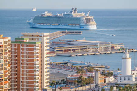 seas: Malaga, Spain - April, 29: Allure of the Seas at the malaga harbor as first stop in europe in Malaga, Spain on April 29, 2015. The largest cruise ship in the world