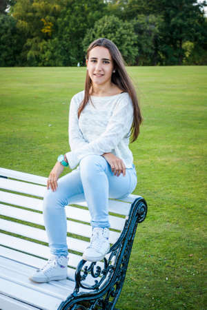Beautiful teenager portrait at the park in dublin