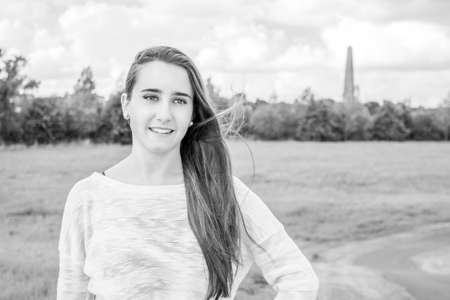 Beautiful teenager portrait at the park in dublin. Black and white
