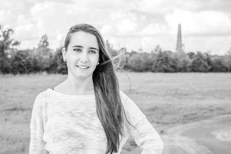 kilmainham: Beautiful teenager portrait at the park in dublin. Black and white