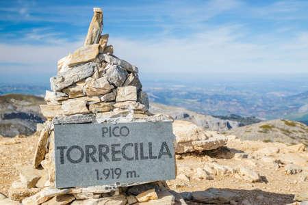 milepost: Peak milestone signal of Torrecilla mountain in Malaga, Spain
