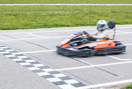 Finishing the karting race in the line