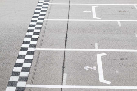 Closeup of finish line in a karting circuit