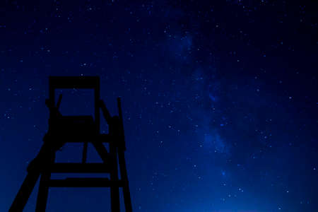 life guard stand: Lifeguard chair at night with stars and milky way