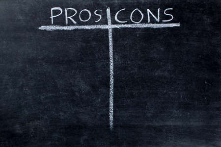 cons: Pros and cons empty list on black chalkboard