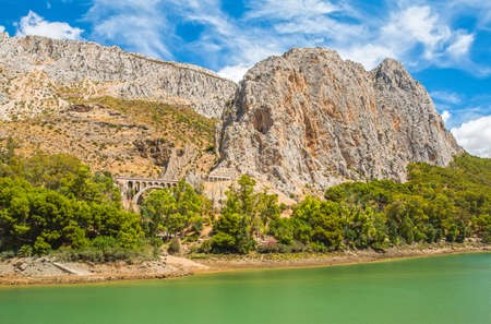 gangway: Rock mountain near to Caminito del Rey in Malaga. Front part of this gorgeous gangway in El Chorro Stock Photo