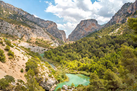 hill of the king: Beautiful valley in Caminito del Rey, gorgeous gangway in Malaga