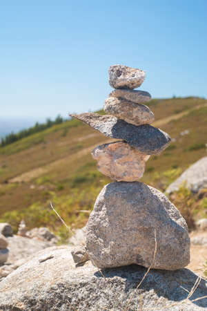 monchique: Stones stack at the Monte Foia in Monchique, Portugal