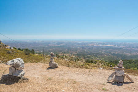 monchique: View from Monte Foia with stones stack in Monchique, Portugal
