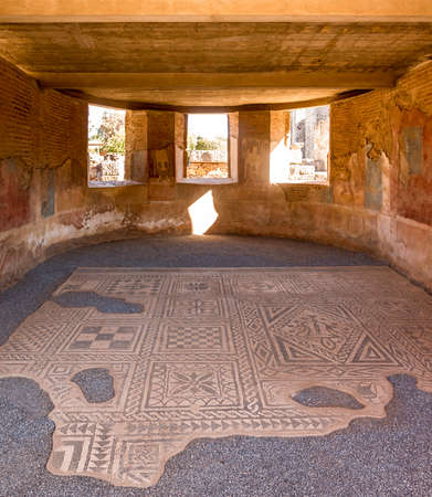 Merida, Spain - Oct 28, 2017: Room with ornamental roman historic mosaic floor in Merida, Spain on October 28, 2017 新闻类图片