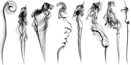 Graphic set of various smoke stream with beautiful curls isolated on white background