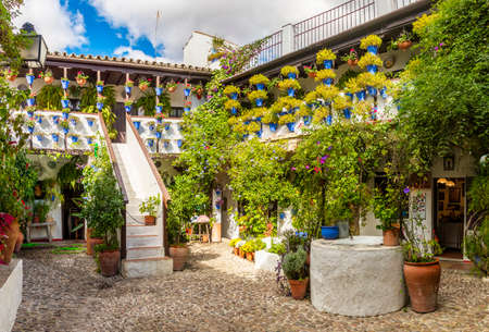 Cordoba, Spain - Oct 29, 2018: Inner cobblestone court of house (Patio cordobes) with green trees and flowerpots in Cordoba, Spain on October 29, 2018 新闻类图片