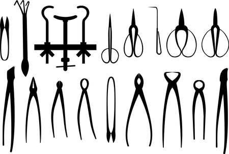 Vector illustration of black silhouettes of assorted gardening tools for bonsai shaping