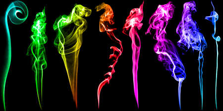 Graphic set of various bright neon colors smoke stream with beautiful curls isolated on black background