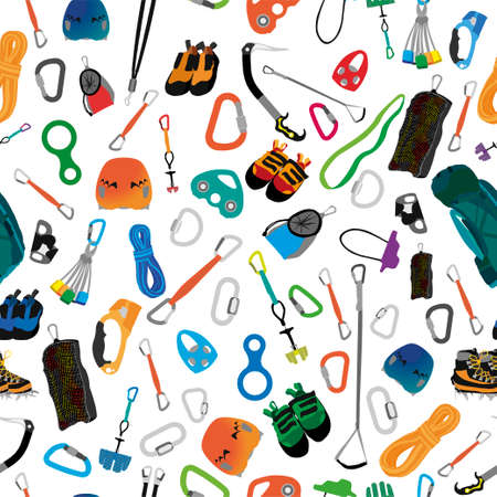 Illustration of assorted equipment and clothing for mountaineering forming seamless ornament. Vector