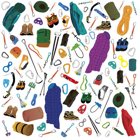 Vector illustration of various gear and accessories for camping and climbing