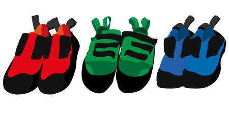 Vector illustration of pairs of climbing shoes of three bright colors