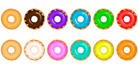 Vector illustration of colorful delicious donuts with various toppings and tastes on white background Imagens - 131634121