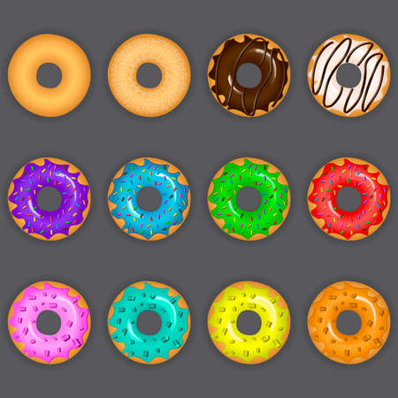 Vector illustration of colorful delicious donuts with various toppings and tastes on gray background
