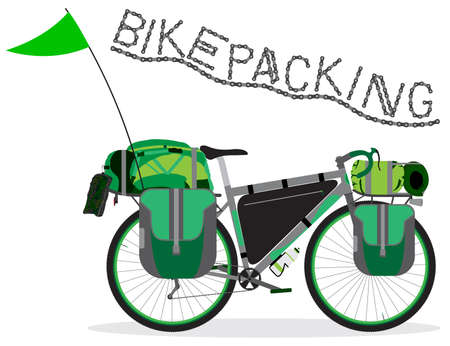 Ilustración de vector de bicicleta de turismo con bolsas. Bicicleta Bikepacking con equipo de viaje y camping sobre fondo blanco. Ilustración de vector