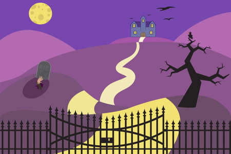 Vector illustration of halloween background with haunted house, gravestone, moon and yard.