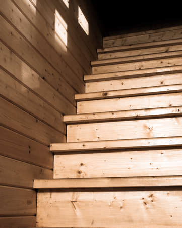 architectural lighting design: Rural wooden stairs bottom view closeup Stock Photo